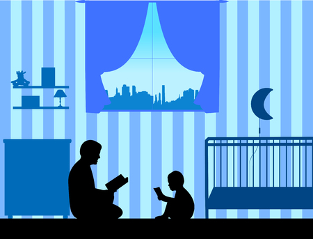 Father and his son read stories silhouette, one in the series of similar images