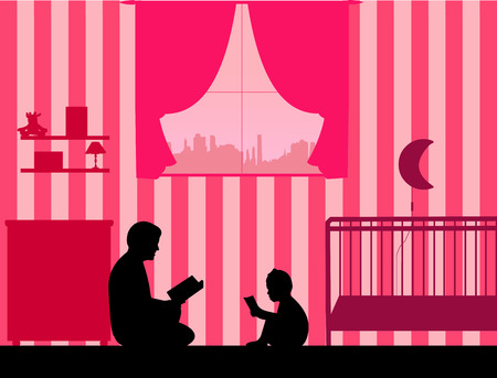 Dad and his daughter read stories silhouette, one in the series of similar images
