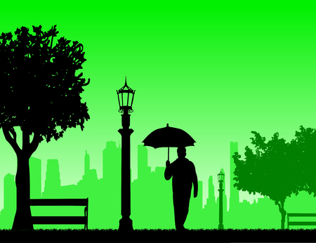 Young man walking under the umbrella in park in autumn or fall, one in the series of similar images silhouette Illustration