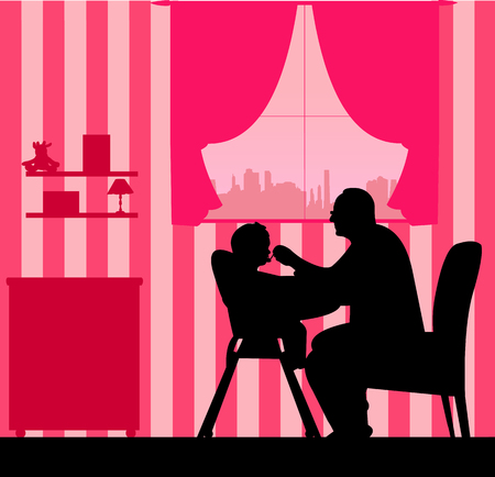 Grandfather nourishes the baby girl silhouette, one in the series of similar images