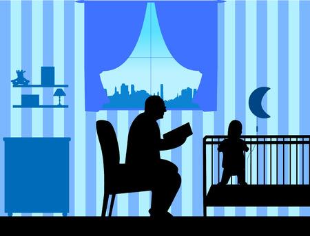 El abuelo lee la historia de su silueta de nieto, una en la serie de imágenes similares Ilustración de vector