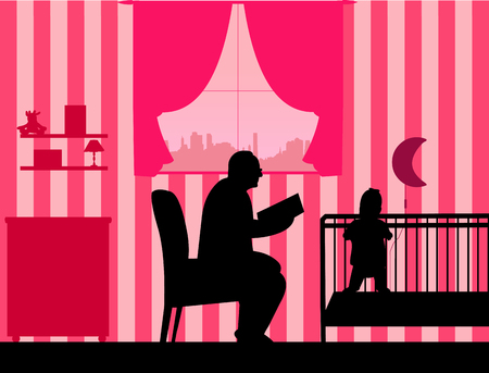 granny and grandad: Grandfather reads the story of his granddaughter silhouette, one in the series of similar images
