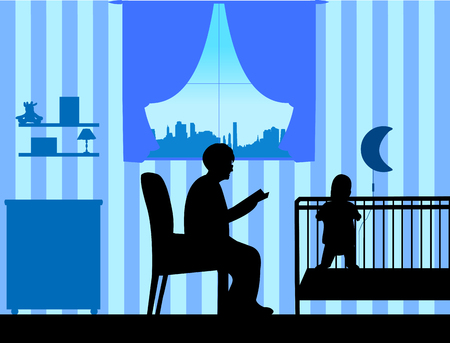 Grandma reads the story of her grandson silhouette, one in the series of similar images