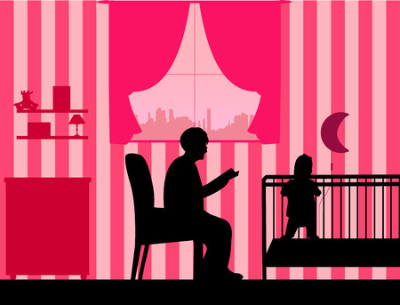 bedtime story: Grandma reads the story of her granddaughter silhouette, one in the series of similar images Illustration
