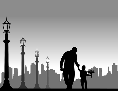 Father walks with a son with flowers in the street, one in the series of similar images silhouette