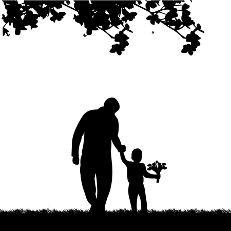Father walks with a son with flowers in the park, one in the series of similar images silhouette