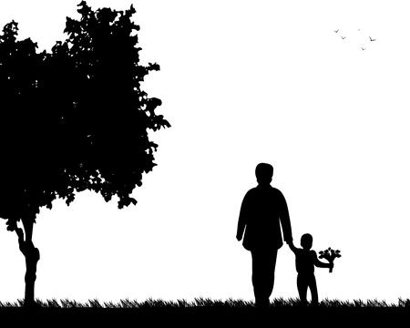 Avó anda com um neto com flores no parque, um na série de imagens semelhantes silhueta