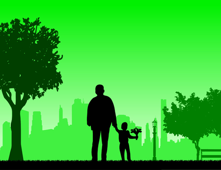 Grandpa walks with a grandson of flowers in the park, one in the series of similar images silhouette