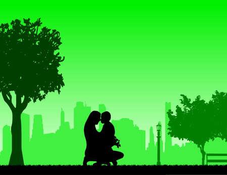 The baby give away a mother of flowers bouquet, one in the series of similar images silhouette. Illustration