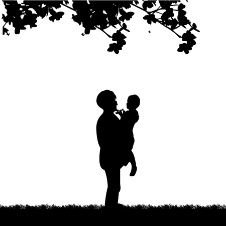 The grandchild give away a grandmother of flowers bouquet, one in the series of similar images silhouette