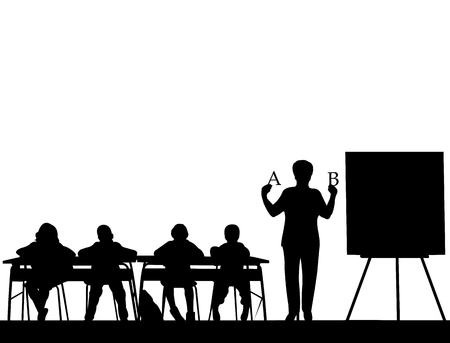 Elderly school teacher teaches letters to the students or offers them a choice silhouette, one in the series of similar images