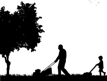 Kleinzoon helpt grootvader gras maaien, één in de reeks van soortgelijke afbeeldingen silhouet Vector Illustratie