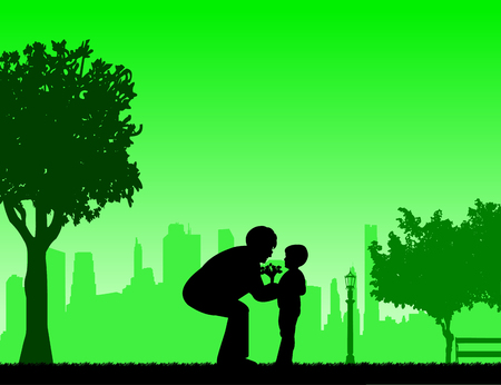 The grandchild brings a grandmother of flowers bouquet, one in the series of similar images silhouette Illustration