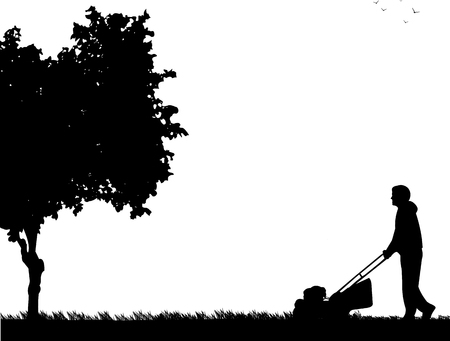 Young man cut the lawn or mow the grass in garden, vector illustration image silhouette. Illustration