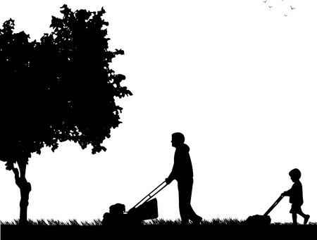 Fils aide le père à tondre l'herbe, silhouette image illustration vectorielle.