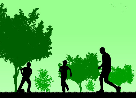 Daddy and sons playing football in park, vector illustration image silhouette.