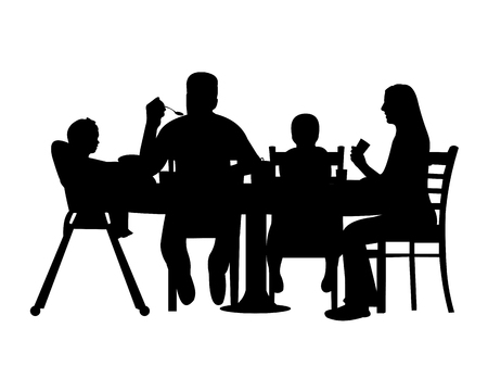 Silhouette of a home scene were a family enjoy their lunch or dinner, one in the series of similar images