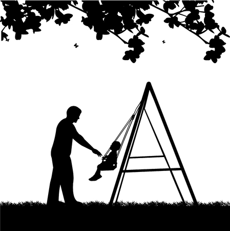 Father swinging child on a swing in the park illustration Illustration