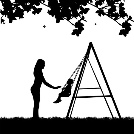 Mother swinging child on a swing in the park illustration
