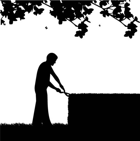 Young gardener trimming a bush or tree or hedges with big shears silhouette