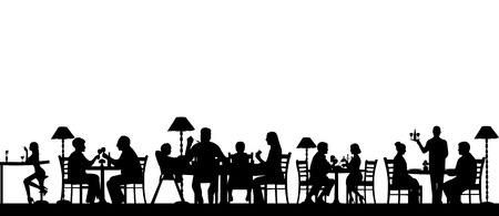 Silhouette of people eating in a restaurant with all figures as separate objects layered, one in the series of similar images.