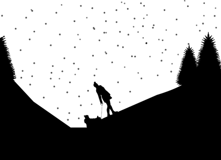 Sledding family with children in mountain in winter, one in the series of similar images silhouette.