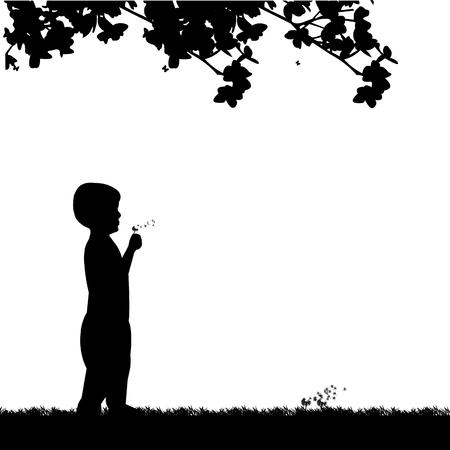 Niño soplando el diente de León en el parque bajo la silueta del árbol, uno en la serie de imágenes similares.