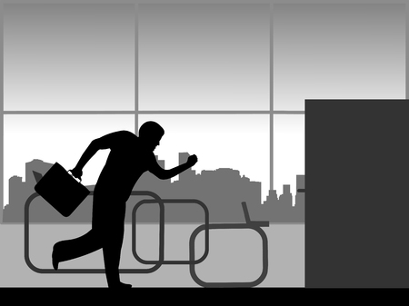 A man hurries from work and runs out of the office silhouette.