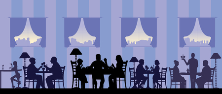 Silhouette of people eating in a restaurant with all figures as separate objects layered, one in the series of similar images Illustration