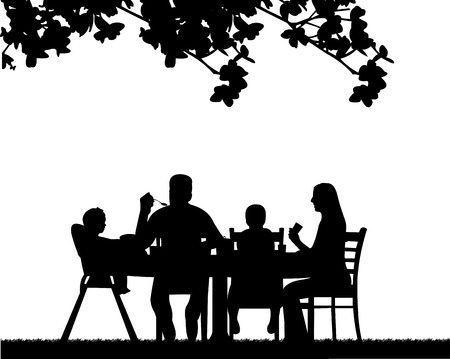 Family lunch in the open, one in the series of similar images silhouette 矢量图像