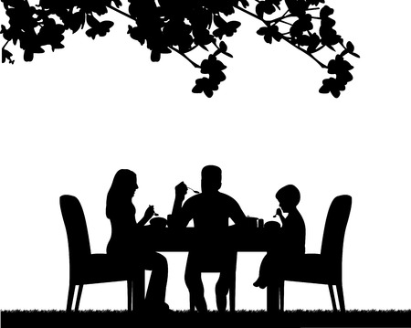Family lunch in the open, one in the series of similar images silhouette Illusztráció