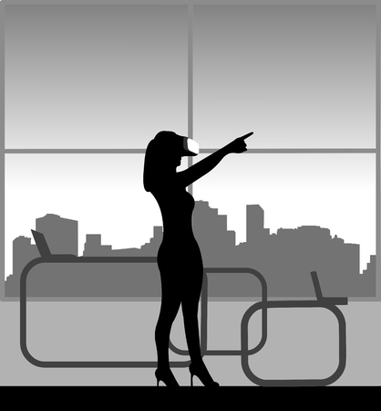 Silhouette of businesswoman in a review of VR glasses in office, one in the series of similar images Vectores