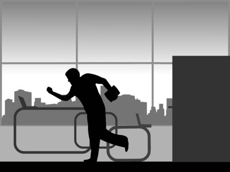 The man is late at work and runs into the office, one in the series of similar images silhouette