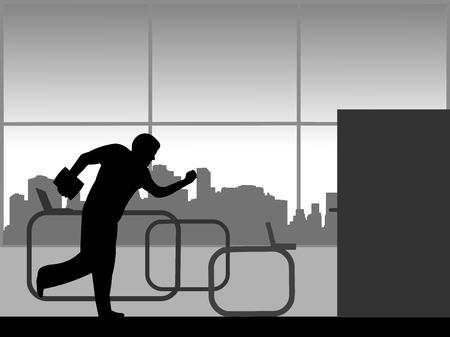 Ein Mann eilt von der Arbeit und rennt aus dem Büro, einer aus der Reihe ähnlicher Silhouettebilder Vektorgrafik