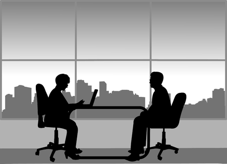 Job interview between the unemployed and businesswoman in the office, one in the series of similar images silhouette Vectores