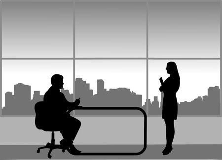 Sollicitatiegesprek tussen werklozen en zakenman op kantoor, één in de reeks van soortgelijke afbeeldingen silhouet