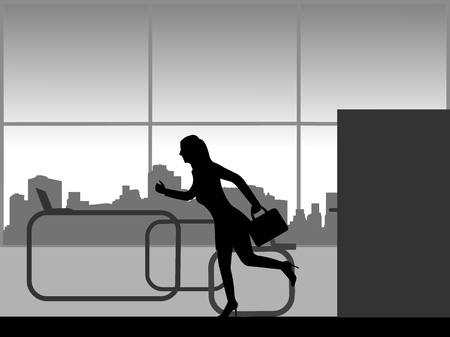 The woman is late at work and runs into the office, one in the series of similar images silhouette