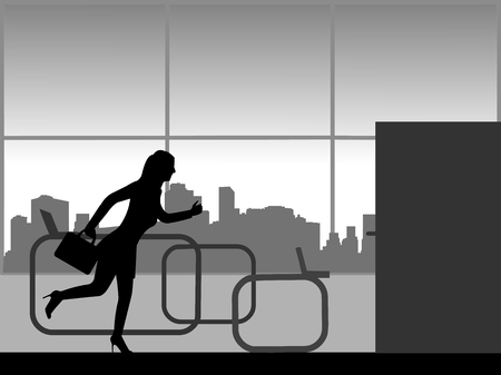 A woman hurries from work and runs out of the office, one in the series of similar images silhouette Stock Illustratie