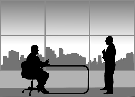 Job interview between the unemployed and businessman in the office Ilustração