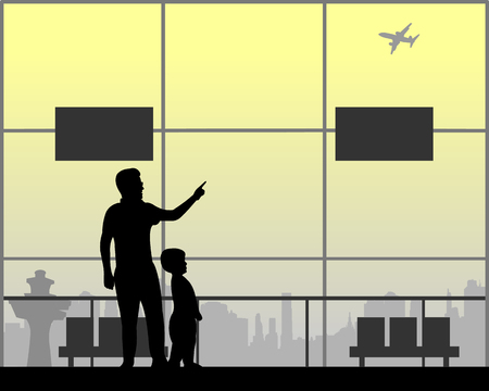 Father shows the boy the plane flying at the airport Ilustração