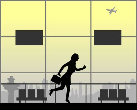 Woman runs at the airport because he is late on the flight