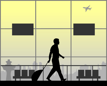 A business man goes to a business trip, one in the series of similar images silhouette Ilustração