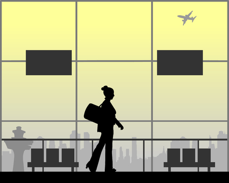 A business woman goes to a business trip, one in the series of similar images silhouette