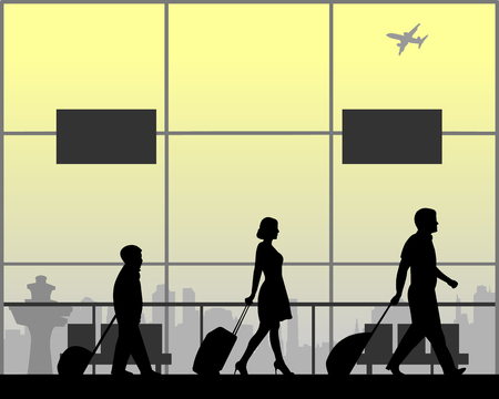 Family with luggage rushes to their flight, one in the series of similar images silhouette