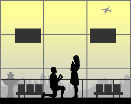 Romantic proposal on airport of a man proposing to a woman while standing on one knee silhouette