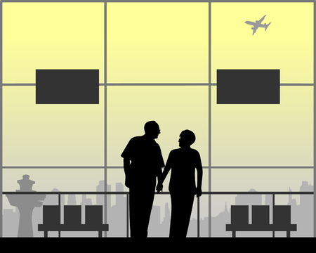 An elderly couple in love is waiting for their flight to the airport, one in the series of similar images silhouette