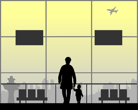 Grandma and grandson walking at the airport while waiting for their flight, one in the series of similar images silhouette Ilustração