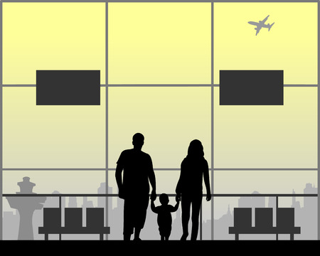 Parents are walking with their child as they wait for the flight to the airport, one in the series of similar images silhouette Ilustração