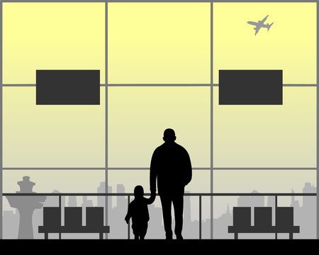 Grandpa and grandson walking at the airport while waiting for their flight, one in the series of similar images silhouette