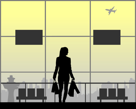 The girl is returning from shopping at the airport, one in the series of similar images silhouette